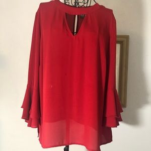 SOHO- New York & Company- L Red Blouse